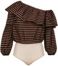 Nk - one shoulder striped body - women - Cotton/Silk - 34, 36, 38, 40, 42, 44 - BLACK
