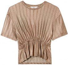 FIND Blusa a Costine Donna, Oro (Gold), 40 (Taglia Produttore: X-Small)