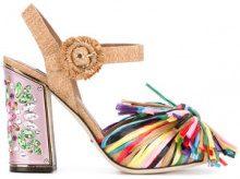 Dolce & Gabbana - Sandali con appliqué a frange - women - Leather/Straw - 35.5, 36, 36.5, 37, 37.5, 38, 39.5, 40, 41, 38.5, 39 - Rosa & viola