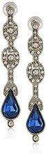 Downton Abbey - Orecchini pendenti con cristallo a goccia colore blu, tonalità argento
