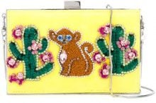 Gedebe - cactus and monkey clutch - women - metal - OS - YELLOW & ORANGE
