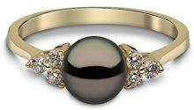 Kimura Pearls-Collana in oro giallo 9 kt, con diamanti e perle d'acqua dolce nere con anello, misura P RN 0052-201BP