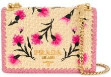 Prada - Borsa a tracolla 'Paglia Ricamo' - women - Straw/Leather - One Size - NUDE & NEUTRALS