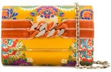 Casadei - Clutch con catena - women - Polyester/Velvet/Kid Leather - OS - YELLOW & ORANGE