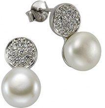 ZEEme Pearls–Orecchini da donna in argento 925rodiato con zirconi bianchi taglio brillante perla d' acqua dolce perla coltivata–360221707