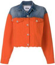 MSGM - Giacca in denim bicolore - women - Cotton/Polyester - 40 - YELLOW & ORANGE