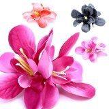 4 fermacapelli forcina mollette per capelli con fiore Hawaii codino set lilla rosa nero arancio
