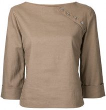 N Duo - embellished top - women - Linen/Flax - 36 - BROWN