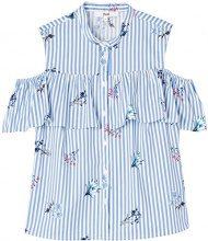 FIND Camicia a Righe Donna, Blu (Blue Stripe Floral), 46 (Taglia Produttore: Large)