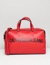 Calvin Klein Jeans - Borsa cilindrica strutturata con logo - Rosso
