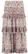 Peyton Woven Floral Tiered Chiffon Maxi Skirt