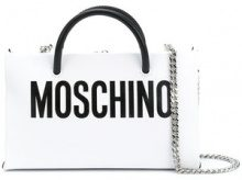 Moschino - front logo shoulder purse - women - Calf Leather - One Size - WHITE