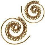 Orecchini a spirale in ottone anticato dorato, stile Tribale