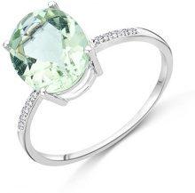 Miore Anello Donna Ametista Verde con Diamanti taglio Brillante Oro Bianco 9 Kt/375
