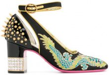 Gucci - Pumps 'Dragon' - women - Calf Leather/Cotone/Leather - 36.5, 37, 37.5, 38, 38.5, 35, 36, 40 - Nero