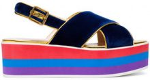 Gucci - Sandali con zeppa - women - Velvet/rubber/Leather - 35, 36.5, 37, 37.5, 38.5, 39, 39.5, 40, 40.5 - BLUE