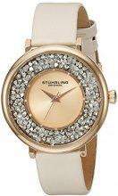 Stuhrling Original Vogue oro rosa orologio al quarzo con display analogico e cinturino in pelle crema 793.03