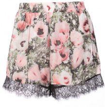 Fleur Du Mal - Margo floral print lace shorts - women - Silk/Polyamide - XS, S, L - PINK & PURPLE