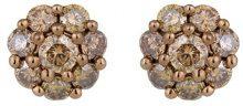 Jewelili Donna  9 carati  oro bianco Rotonda   marrone Diamante