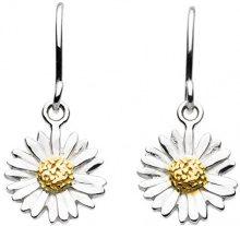 Dew - Orecchini pendenti a forma di margherita in argento sterling e oro