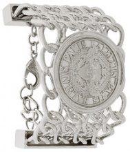 Balmain - Bracciale con moneta goffrata - women - Brass - One Size - METALLIC