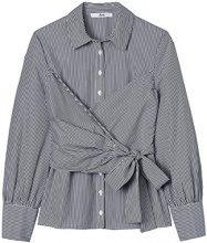 FIND Camicia a Righe con Fiocco Donna, Blu (Blue Stripe), 42 (Taglia Produttore: Small)