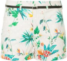 Loveless - tropical-print belted shorts - women - Cotton/Polyester/Polyurethane/Cupro - 34, 36 - PINK & PURPLE