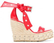 Alexander McQueen - Sandali con fiocco - women - Leather/rubber - 36, 37, 37.5, 39, 40, 36.5, 38, 38.5, 40.5, 35 - RED