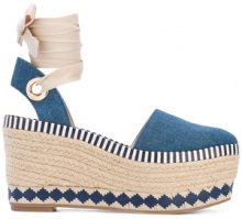 Tory Burch - espadrille wedges - women - Cotton/Leather/rubber - 36, 39, 40, 41 - BLUE