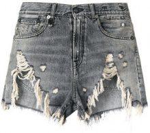R13 - Shorts effetto vissuto - women - Cotton/Leather - 27, 28, 29, 26 - GREY