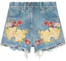 Gucci - Shorts denim ricamati - women - Cotton - 25, 26, 27, 29 - BLUE