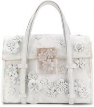 Maison Margiela - Borsa tote con fiori - women - Cotton/Calf Leather/Resin/Brass - One Size - WHITE