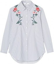 FIND Folk Embroidered Camicia Donna, Blu (Blue/White), 46 (Taglia Produttore: Large)