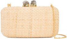 Kayu - chain strap woven clutch bag - women - Straw - OS - NUDE & NEUTRALS