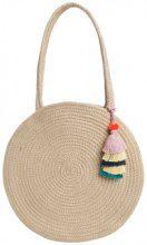 PIECES Round Straw Shoulder Bag Women Beige