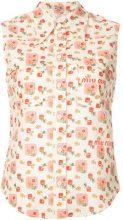 Miu Miu - logo printed sleeveless collared shirt - women - Cotton - 40, 42, 38 - WHITE