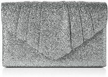 SwankySwans Wendy Glitter Envelope - Pochette da giorno Donna, Argento (Silver), 5x13.7x22.2 cm (W x H x L)