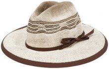 Le Chapeau - Cappello con fascia a contrasto - women - Cotton/Acetate/Paper - 57 - BROWN