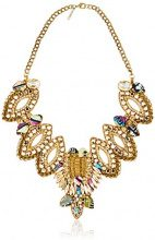 Deepa Gurnani–Catena con chiusura a morsetto, cristalli sfaccettati, perline e paillettes tessuto delle pietre e Cutwork design in pelle sul retro collana in oro