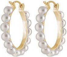 Bella Pearls Donna 925 placcato rodio argento Bottone perla cinesa da coltivazione