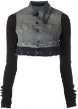 Rick Owens DRKSHDW - cropped denim jacket - women - Cotton/Polyethylene/Spandex/Elastane - S - BLUE