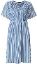 Luisa Cerano - striped tie-neck detail dress - women - Cotone/Polyamide - 42 - Blu