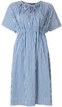 Luisa Cerano - striped tie-neck detail dress - women - Cotone/Polyamide - 42 - BLUE