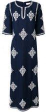 Tory Burch - patterned maxi dress - women - Cotton/Linen/Flax/Polyester/Viscose - S - BLUE