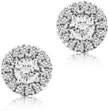 Miore Orecchini a Lobo da Donna in Oro Bianco 9K con Diamante Rotonda 0.07 ct, Colore Argento