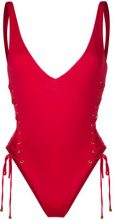 Dsquared2 - lace-up side swimsuit - women - Polyamide/Spandex/Elastane - 46 - RED
