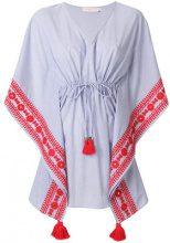Tory Burch - tie waist tassel dress - women - Cotton/Polyester - XS/S, M/L - BLUE
