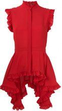Alexander McQueen - Blusa asimmetrica con balza - women - Silk - 44, 40 - RED