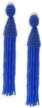 Oscar de la Renta - long ombre beaded clip on earrings - women - Nylon/Brass/glass - OS - BLUE