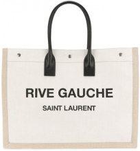 Saint Laurent - Borsa con logo Rive Gauche - women - Leather/Linen/Flax - One Size - NUDE & NEUTRALS